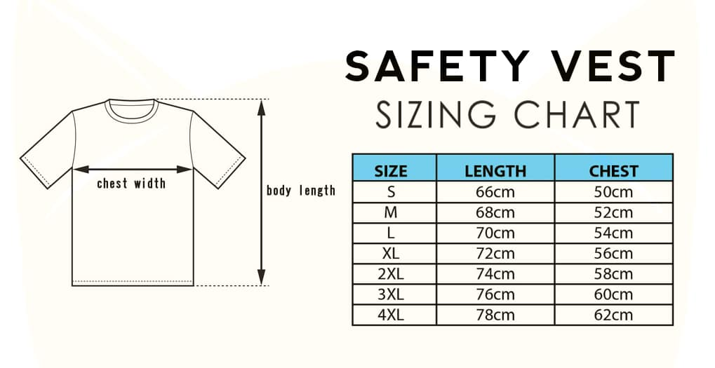 Safety Vest Reflective T-Shirt n Polo 2019 Size Chart