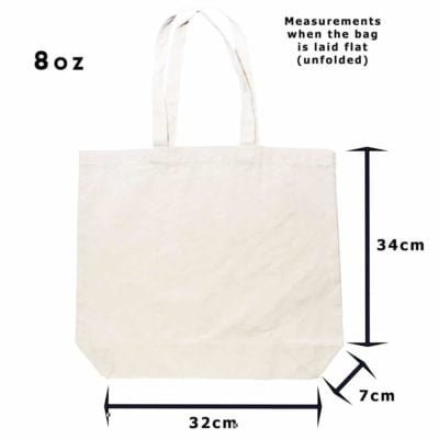 8oz Shopper canvas bag beige unfolded