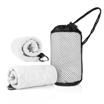 WSP1005 WhiteHD 400x400 - Qvosoft Sports Towel in Mesh Pouch