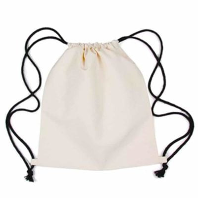 beige drawstring w black string 2019 1 400x400 - Canvas Drawstring Bag