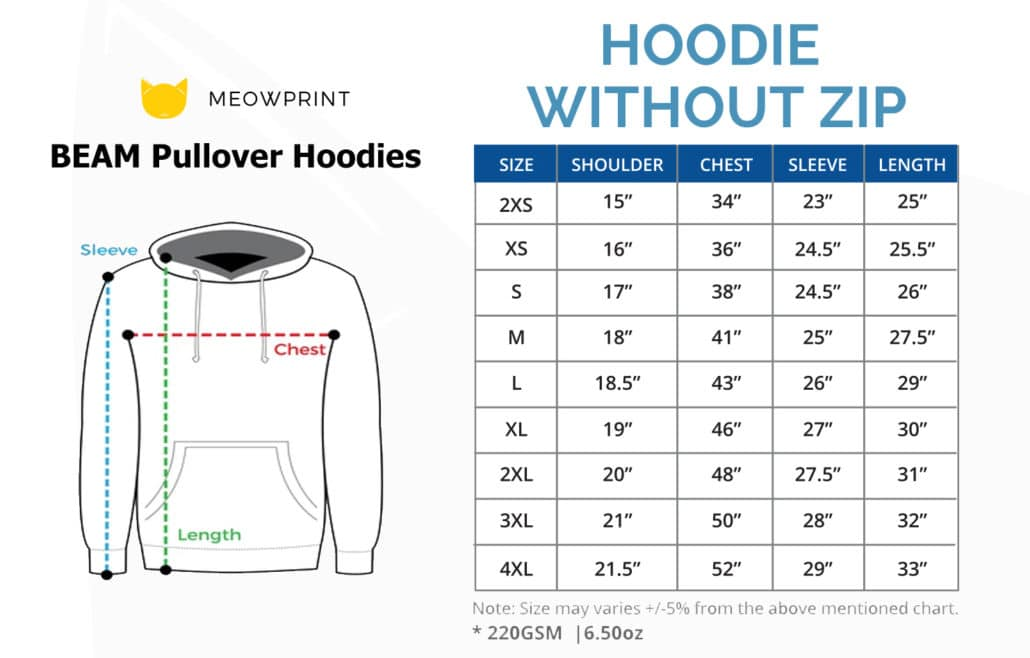 BEAM Pullover Hoodies 2019-20 size chart
