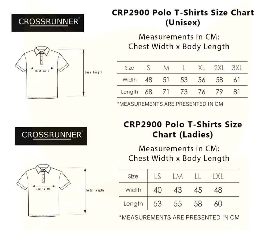 CRP2900 Polo Style 2019-20 size chart