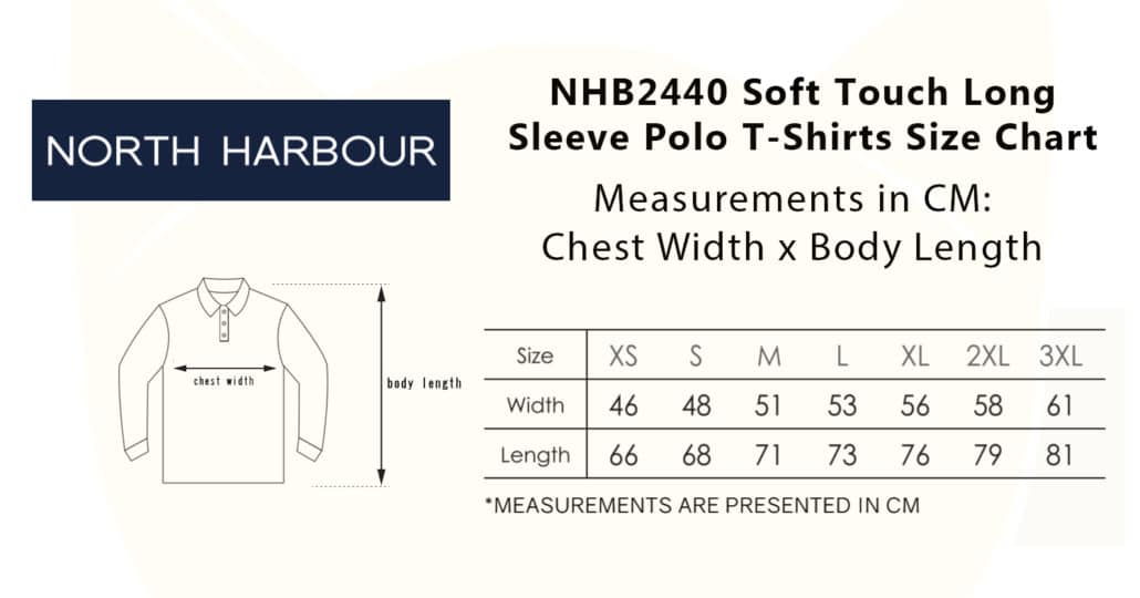 NHB2440 Soft Touch Long Sleeve Polo T-Shirts 2019-20 size chart