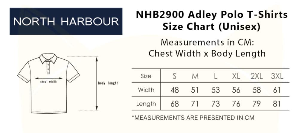 NHB2900 Adley Polo T-Shirts 2019-20 size chart