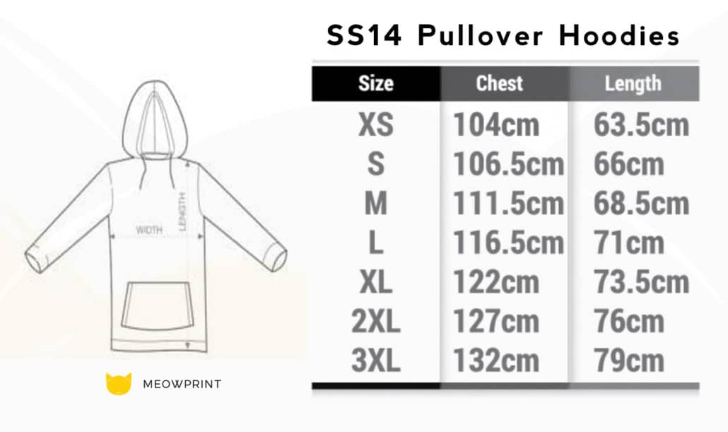 SS14 Pullover hoodies 2019-20 size chart