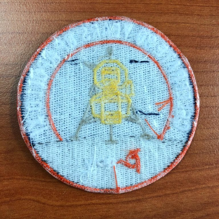 Embroidery patch iron on backing (poly) back