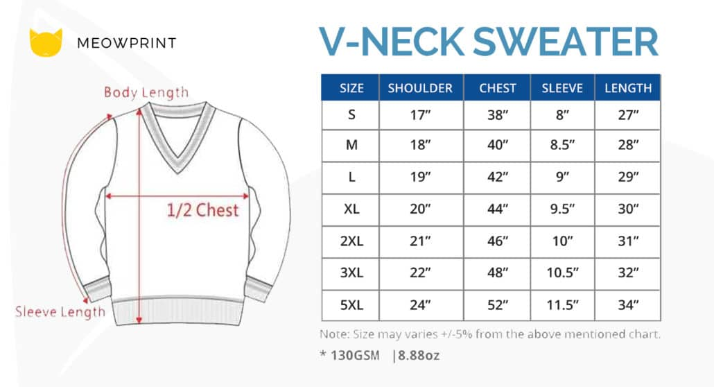 ARS10 BEAM Classic V-Neck Sweater 2019-20 size chart