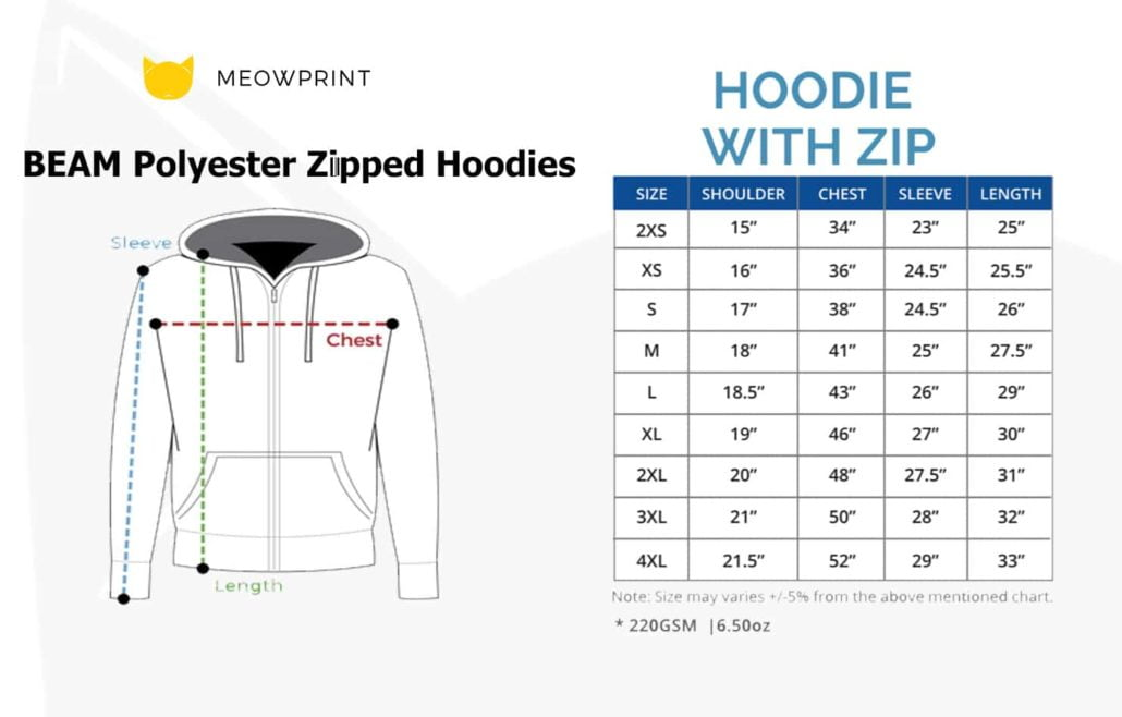 BEAM Polyester Zipped Hoodies 2019-20 size chart