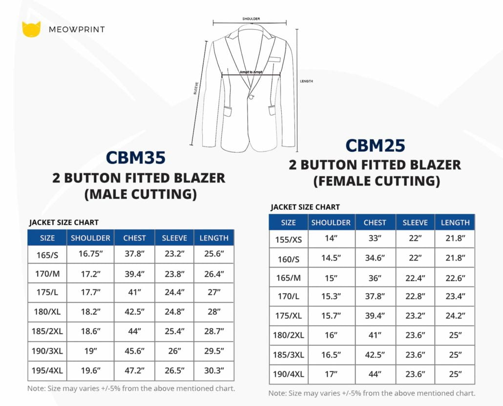 CBM35 BEAM Premium 2-Button Fitted Blazer 2019-20 size chart