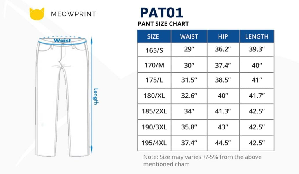 PAT01 Classic Corporate Pants 2019-20 size chart