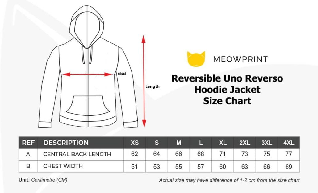 Reversible Uno Reverso Hoodie Jacket 2019-20 size chart