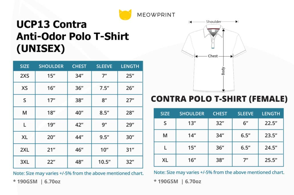 UCP13 Contra Anti-Odor Polo T-Shirt 2019-20 size chart