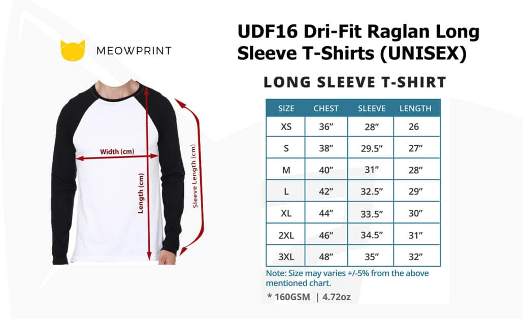 UDF16 Dri-Fit Raglan Long Sleeve T-Shirts 2019-20 size chart