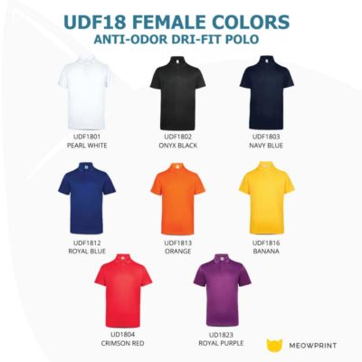 UDF18 Anti-Odor Dri-Fit Polo T-Shirts 2019-20 catalogue female