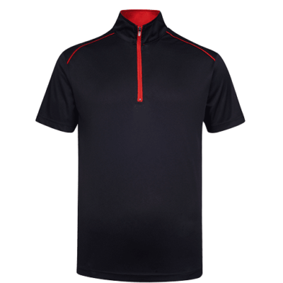 UDF20 Oriental Anti-Odor Zip-Up Collar Polo T-Shirt black red (3)