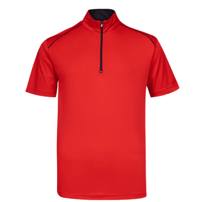 UDF20 Oriental Anti-Odor Zip-Up Collar Polo T-Shirt red black (3)