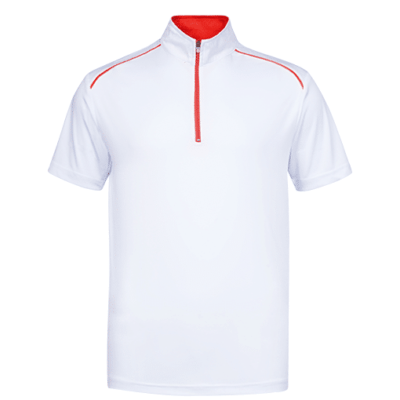UDF20 Oriental Anti-Odor Zip-Up Collar Polo T-Shirt white red (3)