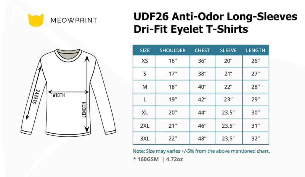 UDF26 Anti-Odor Long-Sleeves Dri-Fit Eyelet T-Shirts 2019-20 size chart