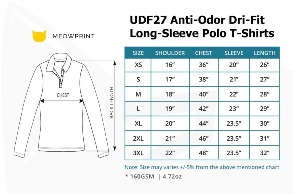UDF27 Anti-Odor Dri-Fit Long-Sleeve Polo T-Shirts 2019-20 size chart