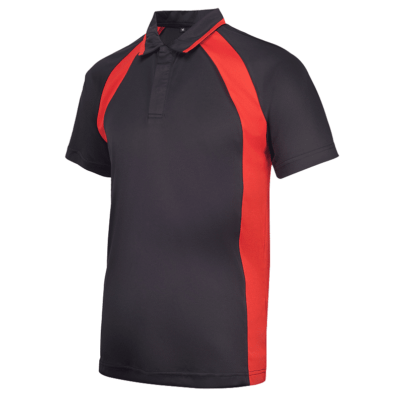 UDF33 Bi-Cross Anti-Odor Polo T-Shirt black red (1)