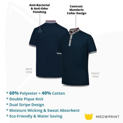 UH03 Ace Anti-Odor Mandarin Collar Polo T-Shirt 2019-20 details
