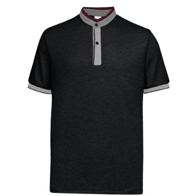 UH03 Ace Anti Odor Mandarin Collar Polo T Shirt black grey red 3 400x400 - UH03 Ace Anti-Odor Mandarin Collar Polo T-Shirt