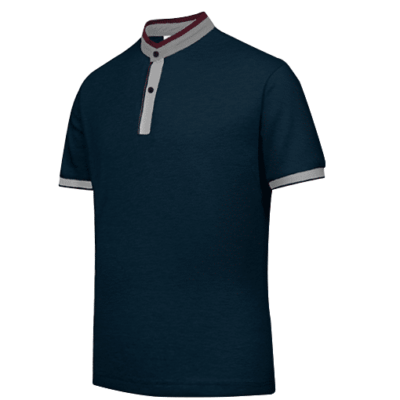 UH03 Ace Anti-Odor Mandarin Collar Polo T-Shirt navy grey red (2)
